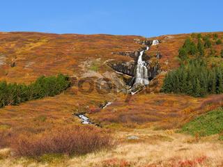 Wasserfall Bunárfoss am Tungudalur bei Ísafjörður, Westfjorde, Island