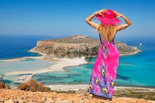 A woman at Balos of Creta, Greece