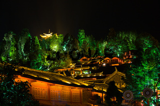 Lijiang Lighted Old Town Pagoda View Night H