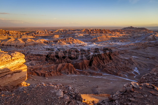 Valle de la Luna at sunset in San Pedro de Atacama, Chile