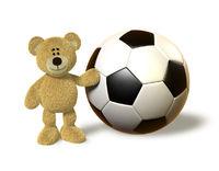Nhi Bear next to a huge Soccer Ball