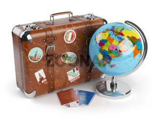Travel or tourism concept. Old suitcase with stickers, globe and passports with boarding pass tickets isolated on white background. 3d