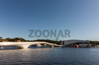 The white bridge and Buen in the port of Mandal in Norway