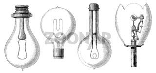 Light bulb models by Edison, Maxim, Swan and Werdermann, 19th century