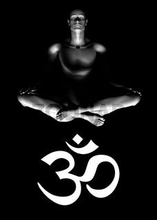 Meditation with om sign - White on Black