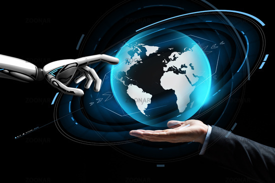 human and robot hand with virtual earth hologram