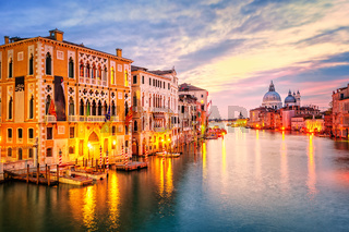 The Grand Canal and basilica Santa Maria della Salute on sunrise, Venice, Italy