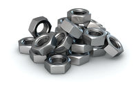Isolated heap of metal nuts