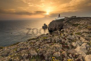 Lighthouse at Cabo de Sao Vicente, Algarve, Portugal.