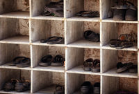 Shoes near entering the temple