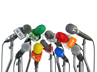 Microphones prepared for press conference or interview isolated on white background