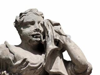 Statue: Trauernde, weinende Frau mit Tuch zum Troc