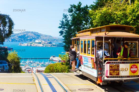 SF Cable Car Hyde St Crest Hill View Alcatraz H
