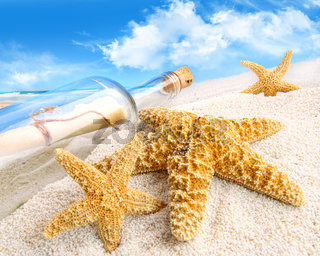 Message in a bottle buried in sand