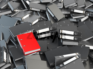 One red office binder and pile of black others.  Archive. File searching concept. 3d illustration