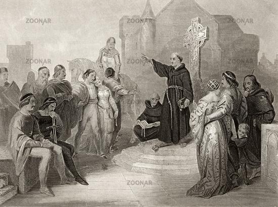 Pope preaching the Crusade, 11th Century