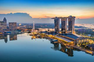 Singapore city when sunrise