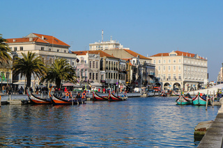 Canal with boats in Aveiro, Portugal