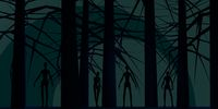 Zombie silhouettes in dark forest