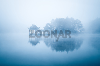 lake in fog