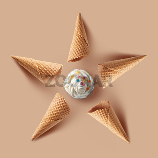 waffle cones with Vanilla ice cream