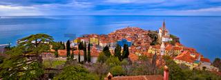 Idyllic coastal town of Piran on Adriatic sea aerial panoramic view