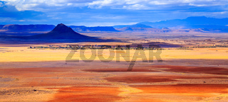 coloreful panoramic moroccan mountain landscape in desert