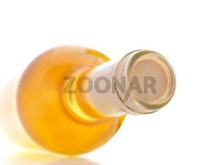 White wine bottle on white background