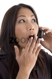 female shocked while talking