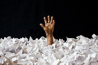 papier, hand,