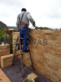 Terrassenmauer, Trennmauer, im Bau, Sichtschutz