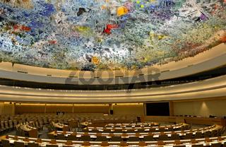 Kuppeldecke im Saal der Menschenrechte und der Allianz der Zivilisationen, UNO, Genf, Schweiz