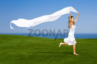 Jumping with a white tissue