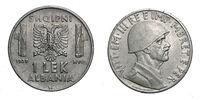 one 1 LEK Albania Colony acmonital Coin 1939 Vittorio Emanuele III Kingdom of Italy, World war II
