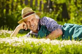 Gardener lying meadow flowers