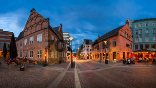 Panorama of Christiania Torv in the Evening, Oslo, Norway