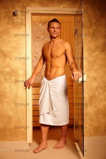 Sporty handsome man at sauna