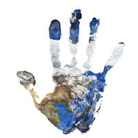 Real hand print combined with a map of China Korea and Japan. Elements of this image furnished by NASA