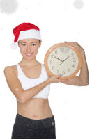 smiling asian women in a Santa's hat with a clock