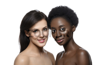 Two beautiful girls with natural makeup