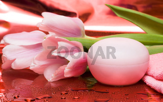cream, towel with flowers on red background