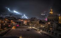 winter in saalbach hinterglemm village at night