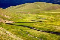 Small river in alpine meadows