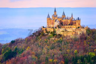 Hohenzollern castle, Stuttgart, Germany, in the early morning light