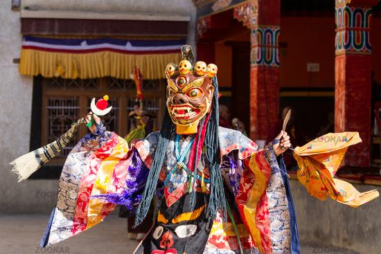 Lamayuru. Monk in mask performs buddhist sacred cham dance