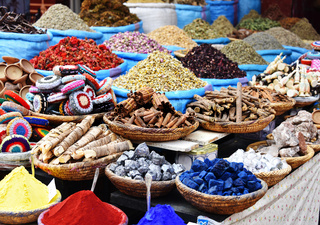 Variety of spices on the arab street market stall