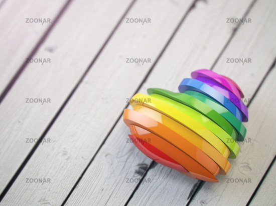 Love valentine rainbow heart on a white wood background. Pride concept