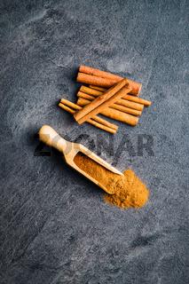 Cinnamon sticks spice and milled cinnamon.