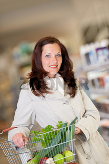 Shopping series - Brown hair woman with basket