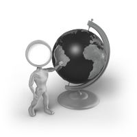 Search-Man with a globe